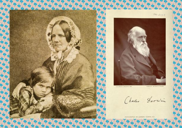 2 fotografias, a primeira de Emma Darwin com Leonard Darwin e a segunda de Charles Darwin