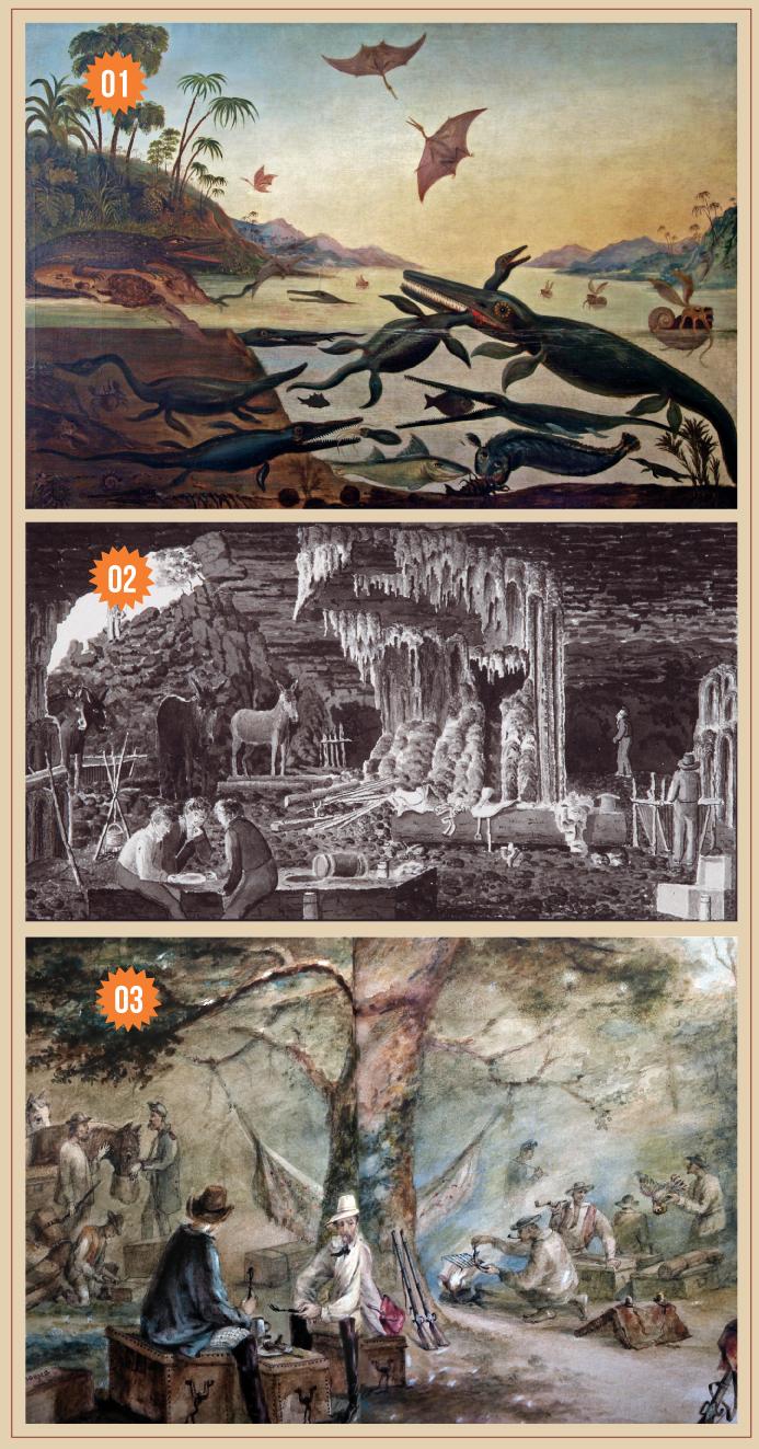 3 Imagens: a primeira é a Pintura Duria Antiquior, a segunda ilustração Lagoa Santa e a terceira aquarela Comissão Científica de Exploração ao Ceará